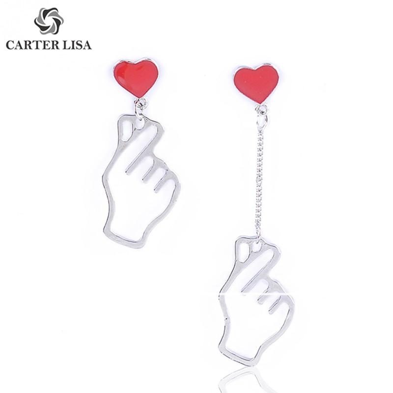 CARTER LISA Dainty Symbol Love Hand Gesture Finger Heart Silver Charm Korea Drop Earings For Women Ethnic Bohemian Jewelry Gifts