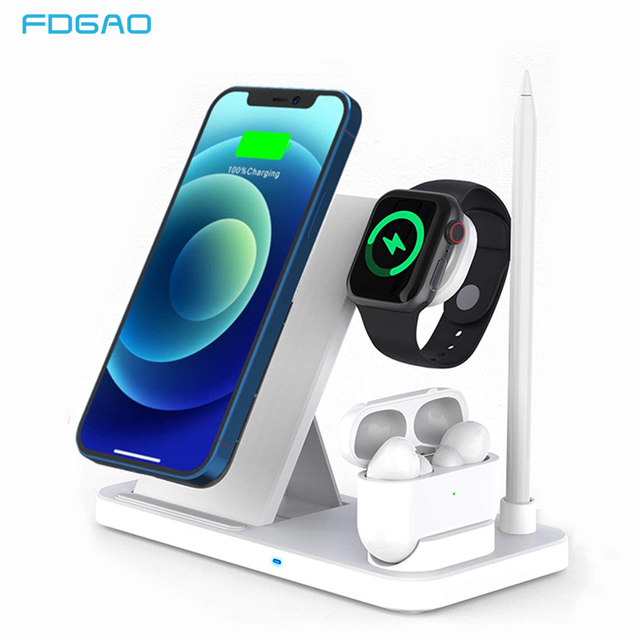 15W Qi Fast Wireless Charger Stand For iPhone 12 11 XR XS 8 Apple Watch 4 in 1 Foldable Charging Station for Airpods Pro iWatch