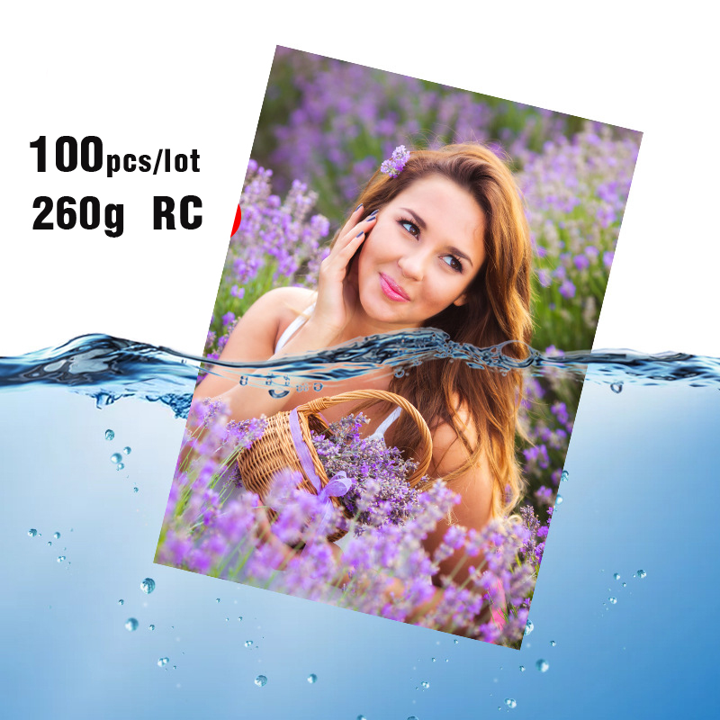 100pcs/set  260g RC Photo Paper Waterproof Printer Inkjet Printing Highlights  6 Inches