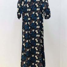 Floral Printing Women Mid-Calf Dess Vintage Short Puff Sleeve Ladies O-neck Long Dress