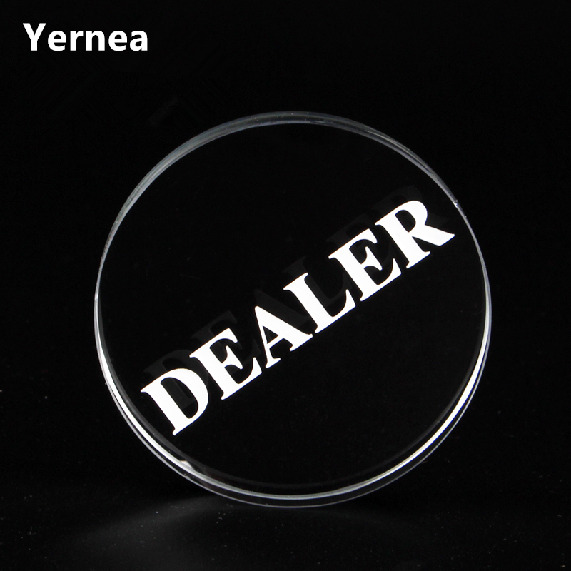 New Texas Holdem Crystal DEALER Poker Chips Poker Table Special Crystal Chip Matching Accessories Transparent DEALER Yernea