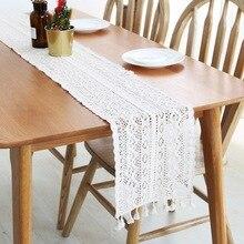Nuevas decoraciones de mesa camino de mesa de algodón de encaje estrecho mantel con borla para el país Vintage boda fiesta nupcial