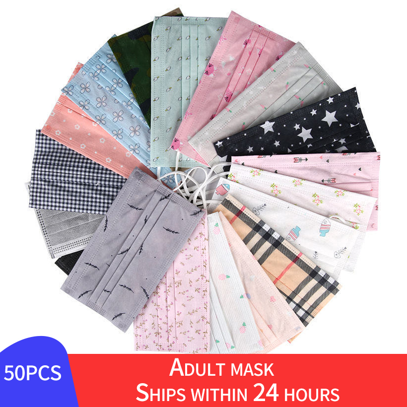 50PCS Adult Printed Mouth Mask For Men Disposable Protect 3 Layers Filter Dustproof Earloop Non Woven Protective Masks