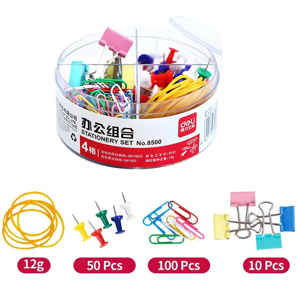 Color Metal Binder Clips Set Binding Tools Push Pins Paper Clip Rubber Band Stationery Office Accessories School Supplies F036