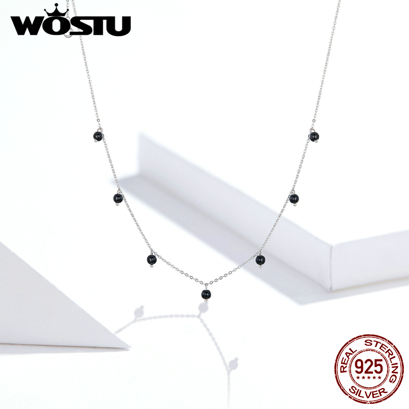 WOSTU Genuine 925 Sterling Silver Black Crystal Necklace Long Chain Link For Women Wedding Anniversary Fashion Jewelry CQN392