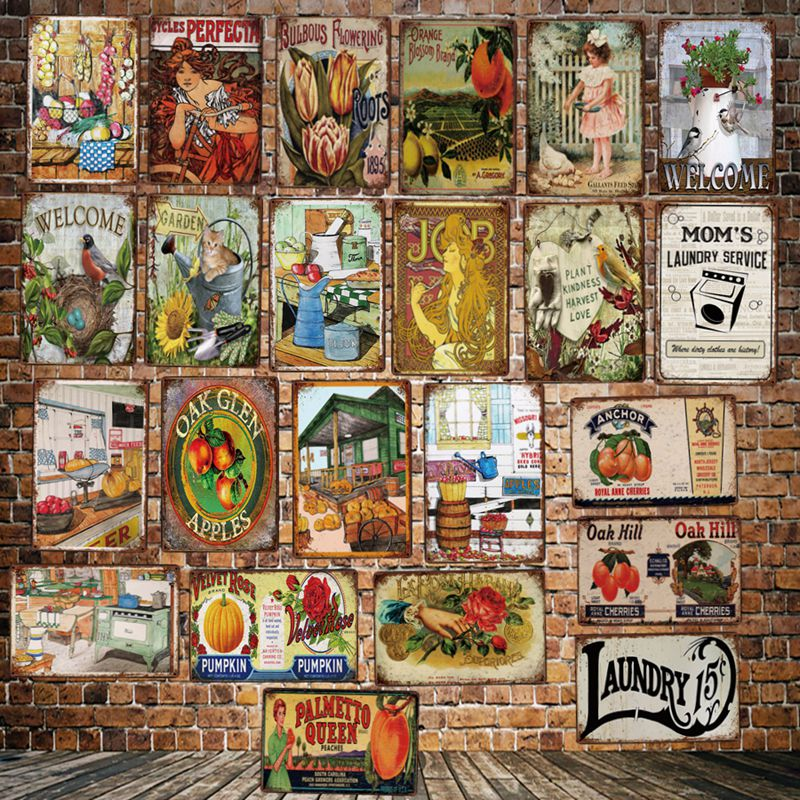 [ Mike86 ] Kitchen Laundry Flowers Bird Garden Fruit Metal Sign Vintage Store Retro Iron Painting Poster Art 20*30 CM LT-1889(China)