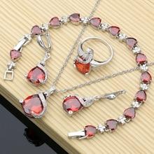 Conjunto de joyería nupcial de plata 925 para mujer, Circonia cúbica roja, pendientes, anillos, Kits de joyas de Dubái