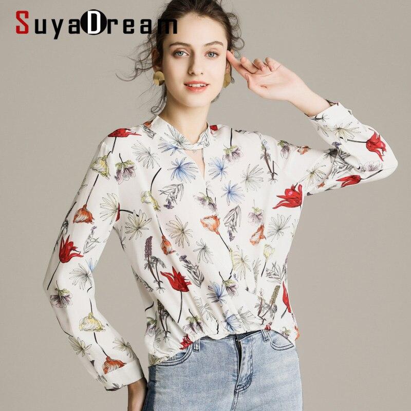 Femmes Blouse 100% véritable soie crêpe imprimé Blouse chemise col montant bureau dame Blouses 2019 automne hiver OL chemise