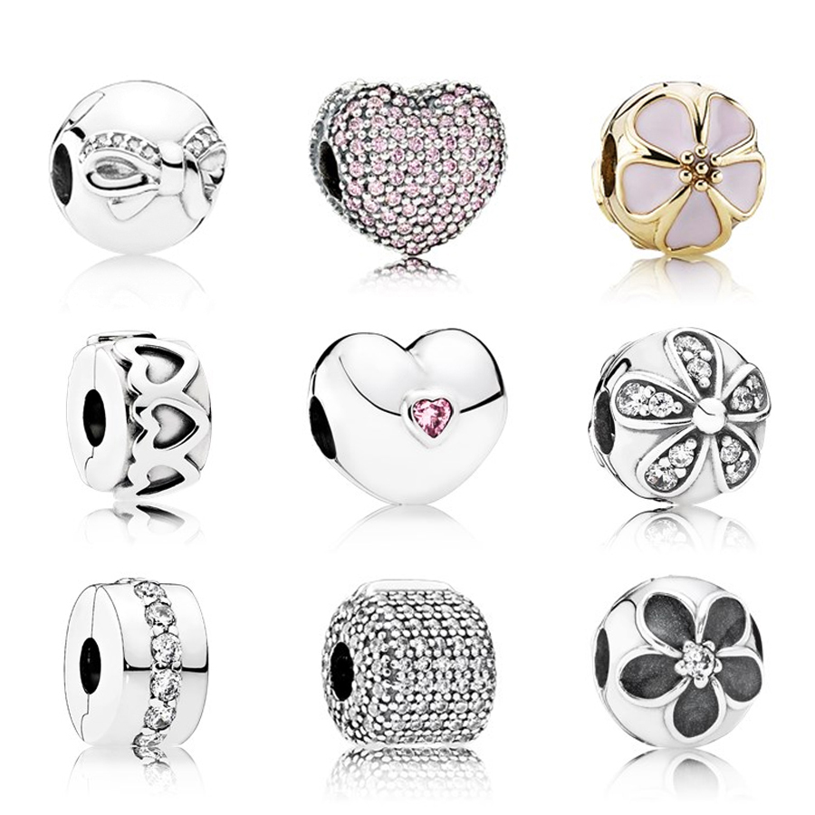 2019 100% 925 Sterling Silver Safety Clip Crystal Heart-shaped Charm Beads Collocation Bracelet DIY Suitable Sending Woman Gift