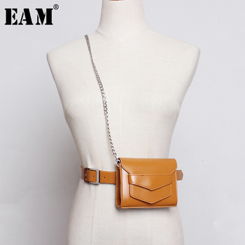 [EAM]  Pu Leather Black Mini-bag Chain Split Joint Long Belt Personality Women New Fashion All-match Spring Autumn 2020 1D808
