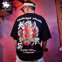 Chinese style Ghost printing Harajuku cotton men's T-Shirt Hip Hop Streetwear Fashion Casual Round neck tshirt men clothing 2019