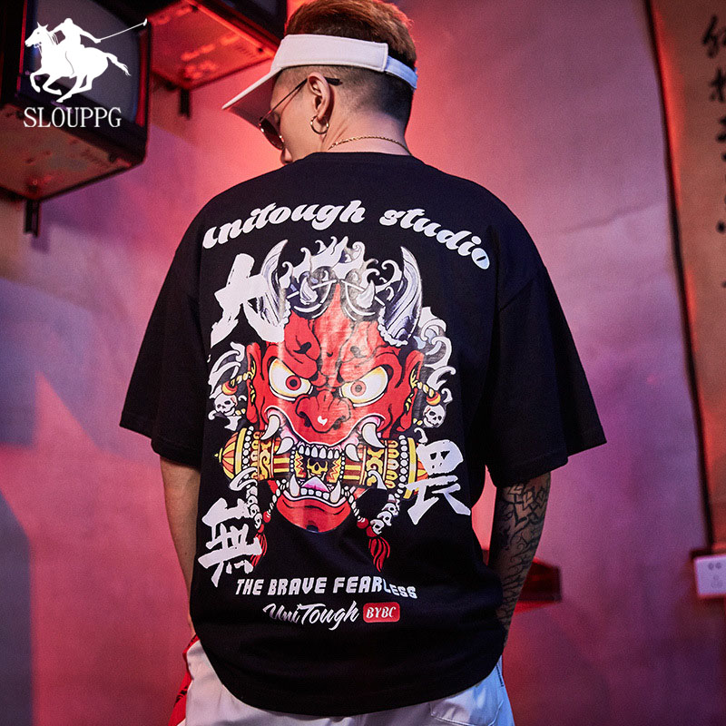 Chinese Style Ghost Printing Harajuku Cotton Men's T-Shirt Hip Hop Streetwear Fashion Casual Round Neck Tshirt Men Clothing 2019
