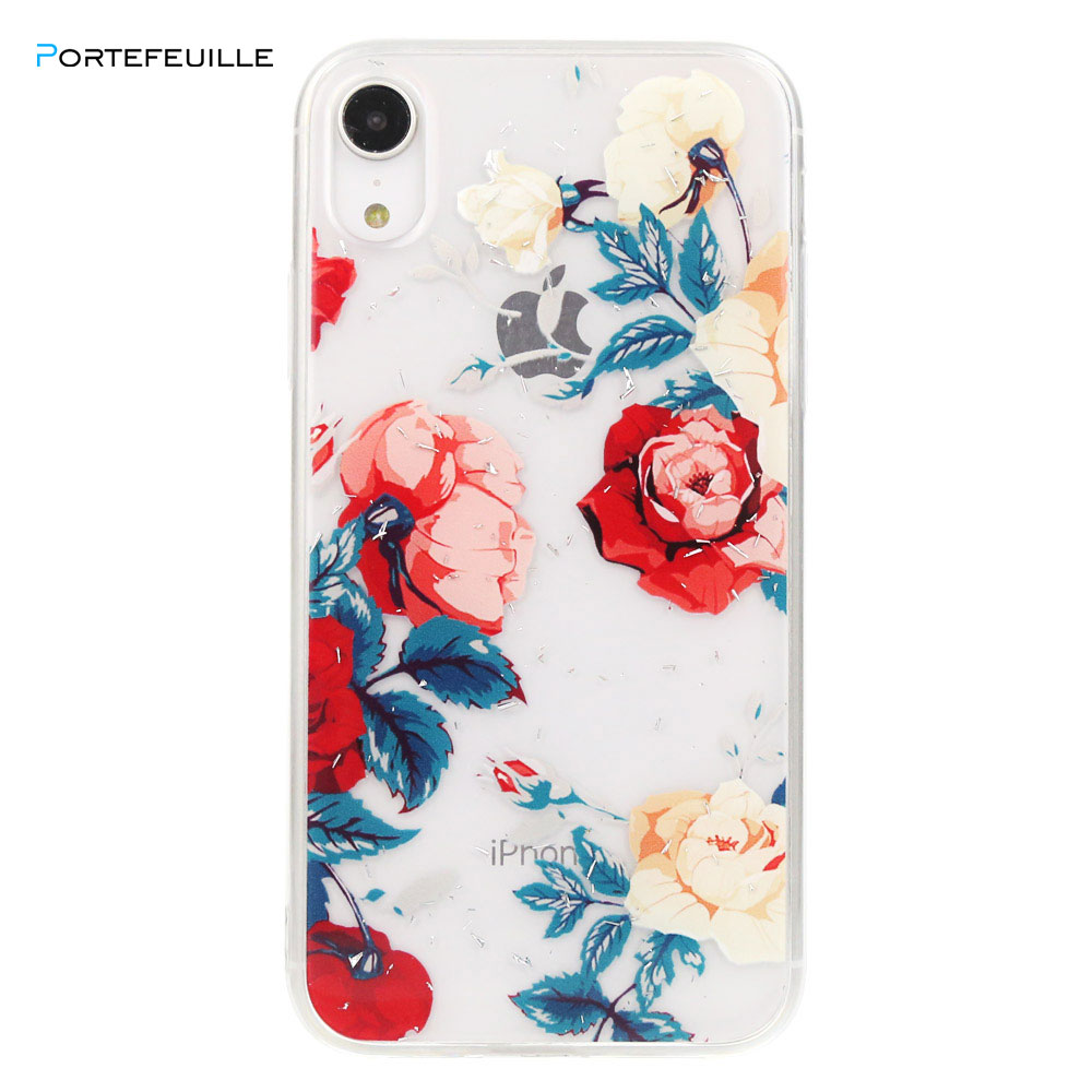 For iPhone XR Case Flower Glitter Luxury Silicone Cute Transparent Cover Coque For iPhone XR X XS MAX 7 Plus 8 6 6S Accessories