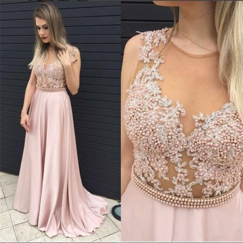 Robe de soiree 2020 Custom Made Pink Chiffon Lace Evening Dress Abiye gece elbisesi Long Pearls Belt Prom Dresses Abendkleider