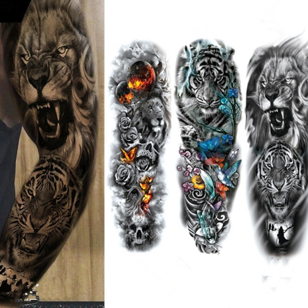 Full Flower Temporary Tattoo Sticker Arm Fake Tattoo Sticker Skull Lion Dragon Body Paint Waterproof Transfer Fake Tattoo