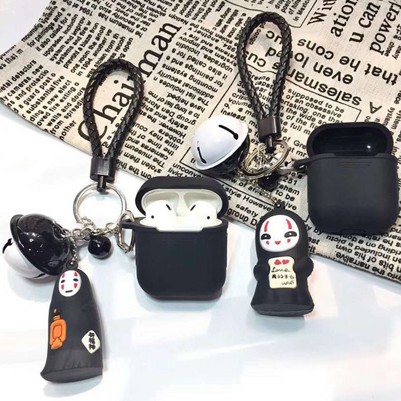 New cartoon Faceless man ornament Keychain for Apple Airpods Accessories Bluetooth Earphone Cover Case Airpods Protective Bag