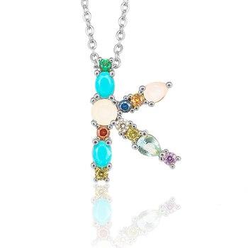 Multicolor Fashion Charm Gold 26 Alphabet Pendant Necklace Micro Pave Zircon Initial Letter Necklaces Couple Name 5