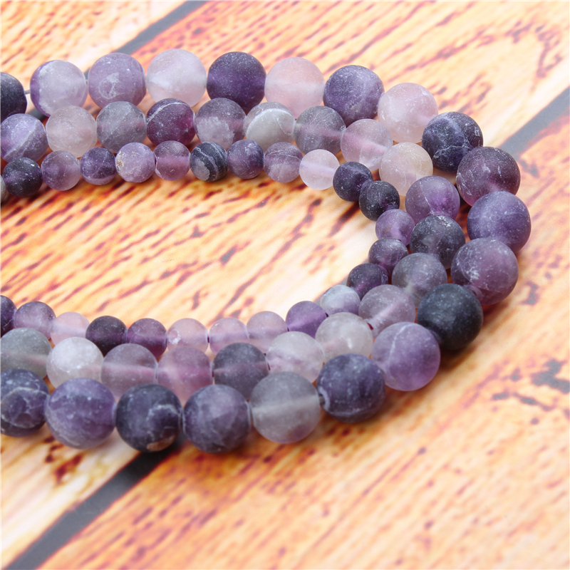 Frosted Amethyst Natural Stone Bead Round Loose Spaced Beads 15 Inch Strand 4/6/8/10/12mm For Jewelry Making DIY Bracelet