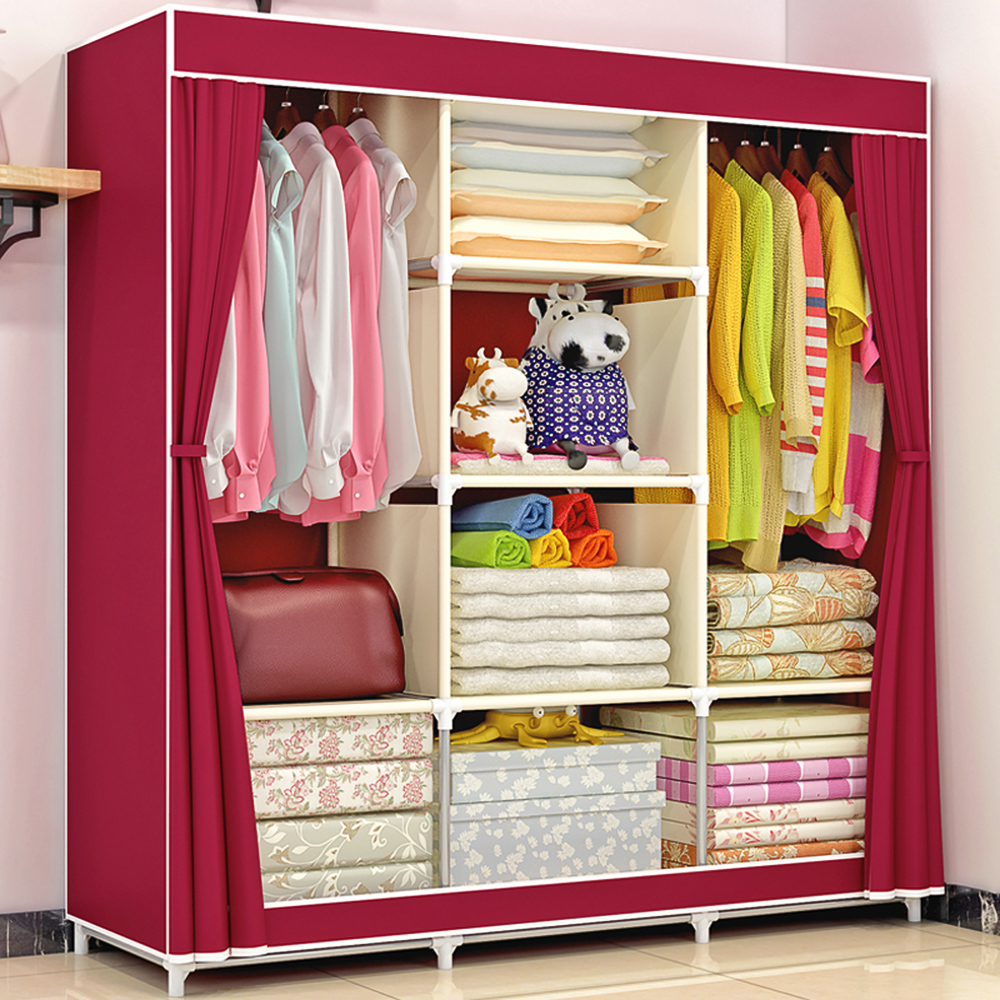 Large Fully-Closed Clothes Storage Closet Quilts Organizer Wardrobe With Metal Shelves & Dustproof Non-woven Fabric Cover