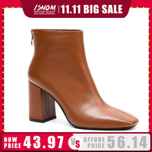 ISNOM Botines de cuero genuino con punta cuadrada para mujer, botas de invierno de goma con cremallera y tacón alto grueso, 2020