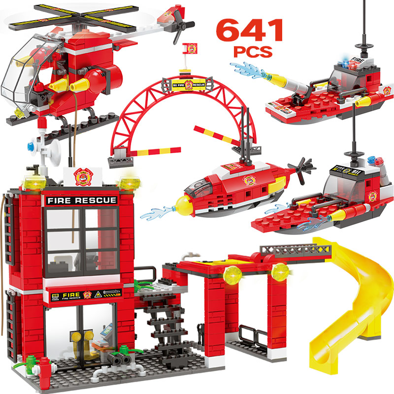 641pcs City Police Building Blocks Compatible Fire Rescue Station Helicopter Action Figures Bricks Toys For Boys