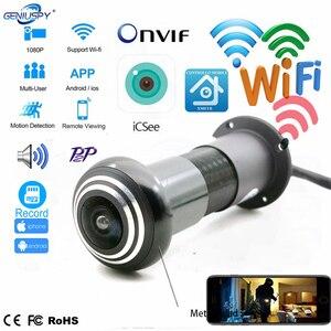 Камера видеонаблюдения, 1080P, мини, Wi-Fi, с отверстиями для глаз, IP, широкоугольный объектив «рыбий глаз», 1,66 мм, камера видеонаблюдения, сетевая...