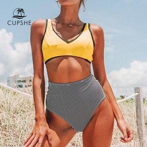 Image 1 - Cupshe Giallo E Nero Della Banda a Vita Alta Del Bikini Due Pezzi Costumi da Bagno Delle Donne 2020 Della Ragazza Della Spiaggia Costumi da Bagno