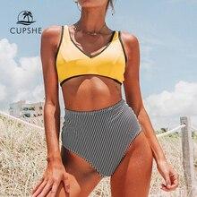 Cupshe amarelo e preto listra biquíni de cintura alta duas peças roupa de banho mulher 2020 menina praia fatos de banho