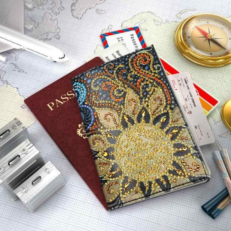 5D DIY especial en forma de diamante pintura protector del pasaporte cubierta del billete de aire bordado diamante punto de cruz mujeres regalo de Navidad