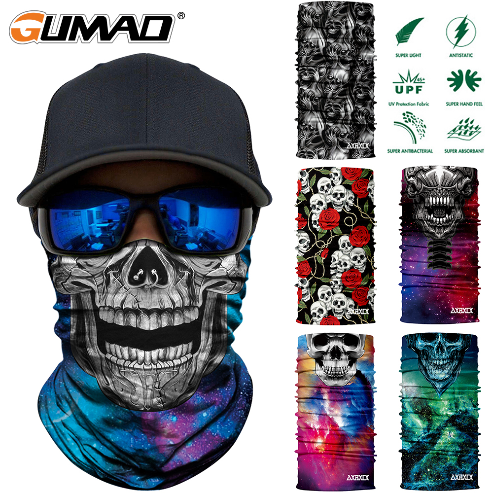 3D Seamless Skull Magic Tube Neck Gaiter Face Shield Sport Camping Cycling Fishing Warmer Bandana Headband Scarf Men Women Mask