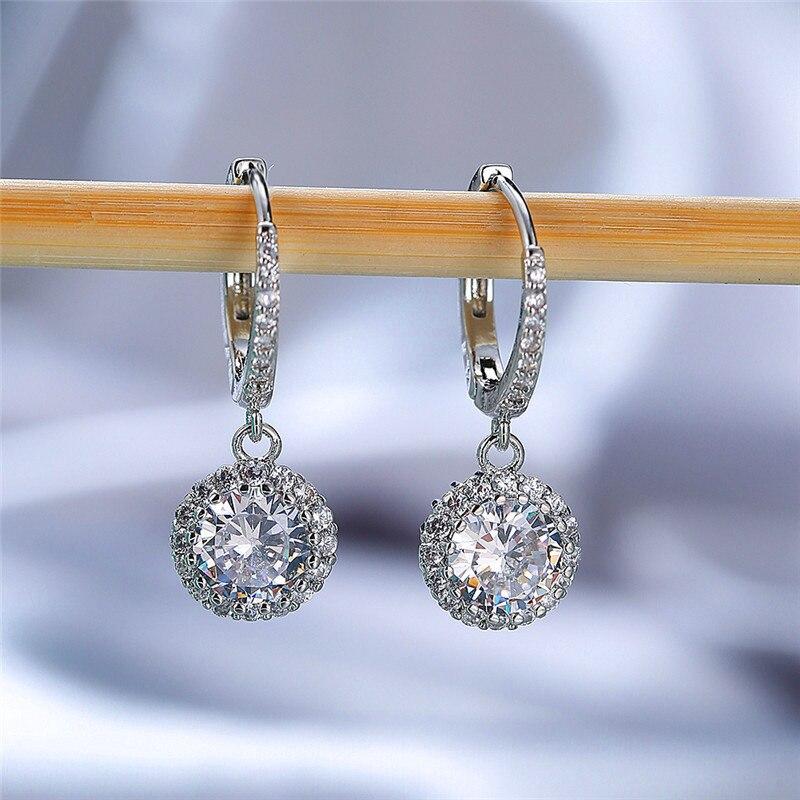 Vintage Female Rainbow Zircon Hoop Earrings Rose Gold Silver Color Wedding Earrings Cute Round Crystal Stone Earrings For Women