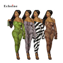 Echoine Women Sexy Jumpsuit Zebra Leopard Snake Print Slash Neck Sleeveless Nightclub Rompers Long Pencil Pants Street Catsuit