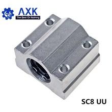 10 ピース/ロット SC8UU SCS8UU 8 ミリメートルリニアボールはブロックの cnc ルータと LM8UU ブッシュ枕ブロックリニアシャフト cnc 3D プリンタ部品
