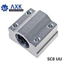 10 pz/lotto SC8UU SCS8UU 8 millimetri Linear Ball Bearing Block Router di CNC con LM8UU Bush Blocchetto di Cuscino Pozzo Lineare CNC 3D parti della stampante