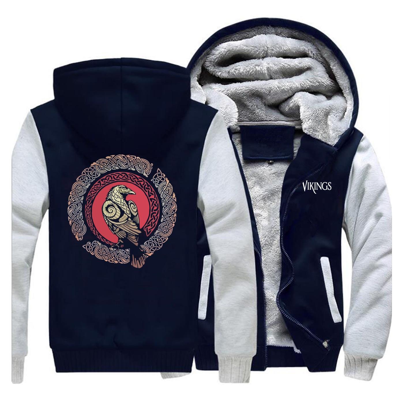 Odin Vikings Men Winter Jacket Fleece Thick Warm Mens Jackets Hoodie Sweatshirt Sportswear Scandinavian Valhalla Athelstan Coat