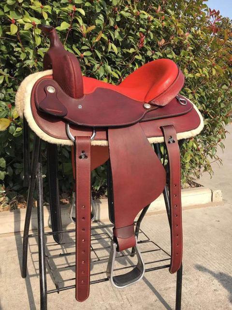 Genuine Leather Saddlery Horse Riding Saddle Integrated Saddle Cowboy Saddle Tourist Saddle Full Genuine Leather Comfortable 1