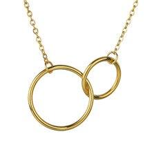 Collar de acero inoxidable para mujer, collar Simple de doble anillo, collar de regalo para novia, collares y joyería Vintage