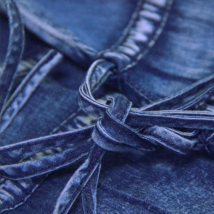 נשים של 2019 סתיו חדש גדול גודל ינס שמלת רוח לאומית רקמת שרוך שרוול שמלת נשים