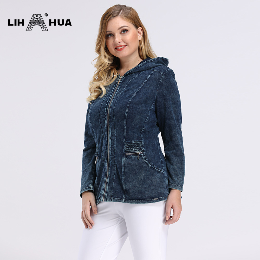 LIH HUA Women's Plus Size Casual Denim Jacket High Flexibility Slim Fit Hoodie Jacket Shoulder Pads For Clothing