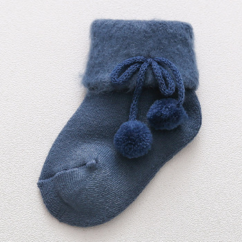 0-2 Years Old Autumn and Winter Baby Socks Boys and Girls Terry Socks Baby Cotton Warm Socks - Blue, 24M