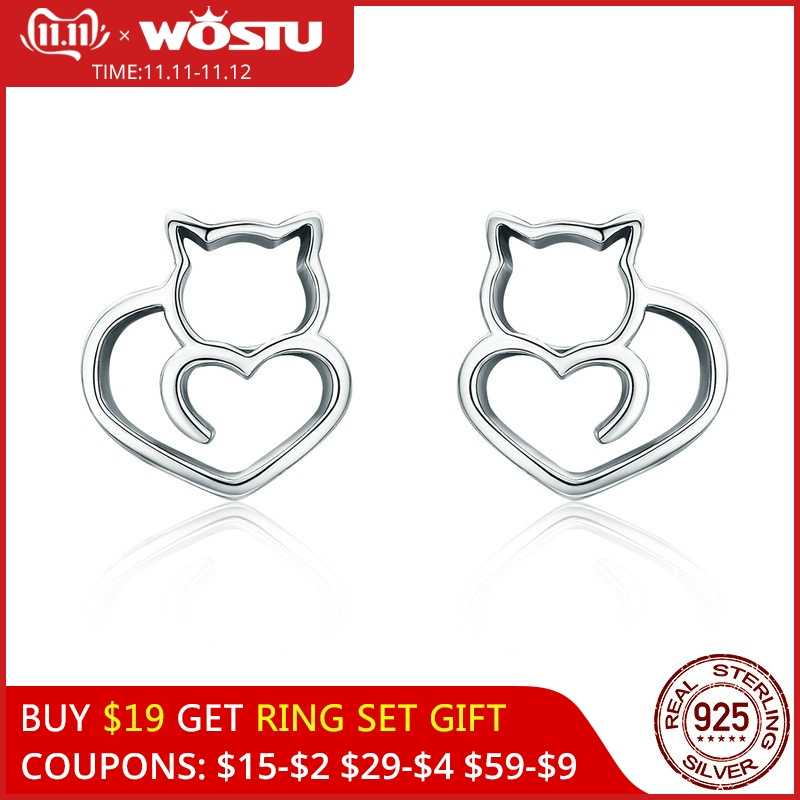 WOSTU Hot Sale Authentic 925 Sterling Silver Cute Cat Small Stud Earrings for Women Fashion Original Silver Jewelry CQE271