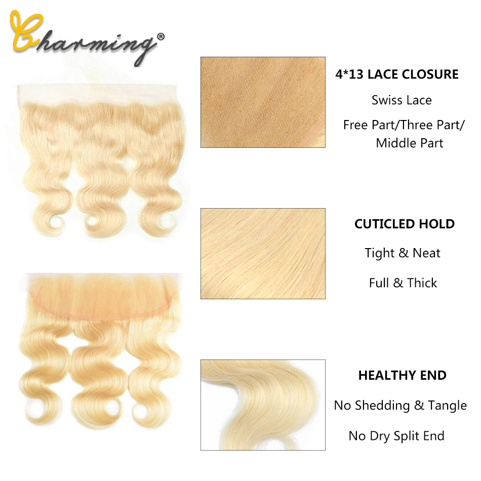 613 Lace Frontal With Baby Hair Blonde Brazilian Body Wave Human Hair Lace Closure 13*4 Remy Free/Middle/Three Part image