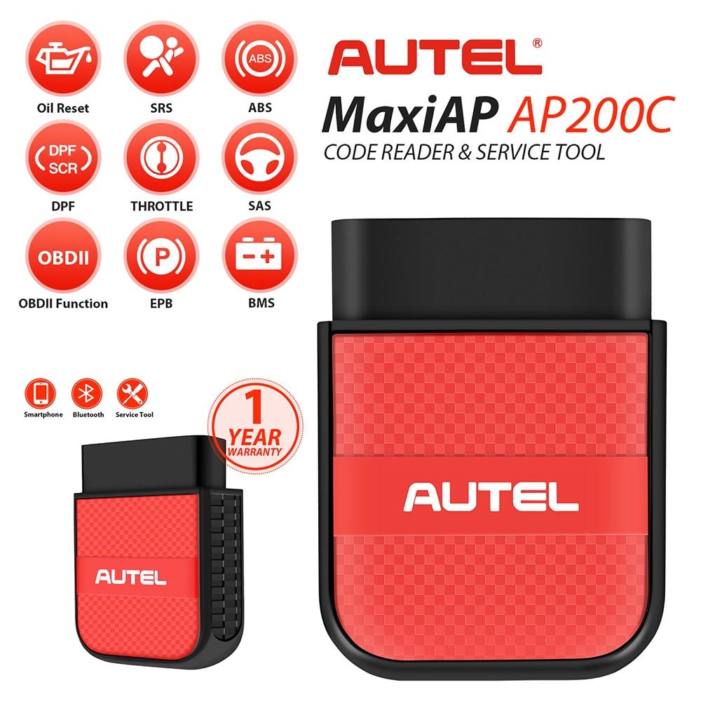 Autel AP200C اللاسلكية OBD2 الماسح الضوئي ، بلوتوث رمز القارئ + 8 خدمات ساخنة ABS تنزف OBD2 أداة تشخيص OBD 2 سيارة أداة
