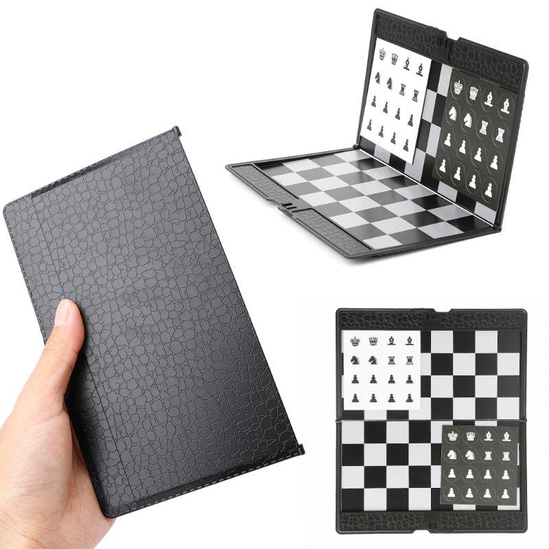 Bolso dobrável magnético internacional xadrez conjunto tabuleiro damas viajante avião x3ua