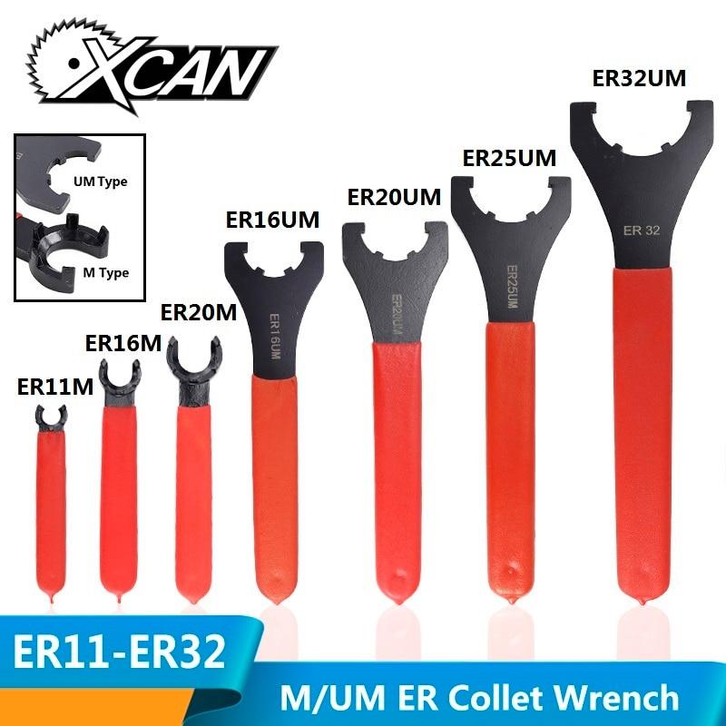 XCAN 1pc ER11/ER16/ER20/ER25/ER32 M/UM Type ER Collet Chuck Nut Wrench CNC Milling Tool Lathe Tools ER Spanner