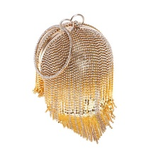 Luxury Tassel Pearl Bead Women Clutch Handbags Fashion Crystal Party Evening Bags For Women Bridal Wedding Round Ball Wrist Bag цена