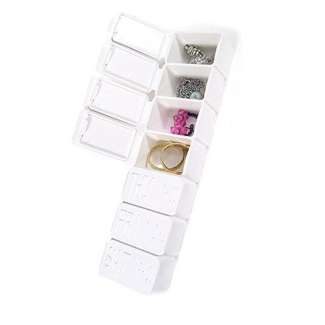 Portable 7 jours pour la maison pilules   Travail, comprimés vitaminées, bijoux, bagues, boucles doreilles, boutons, aiguilles, boîte de rangement, produit domestique
