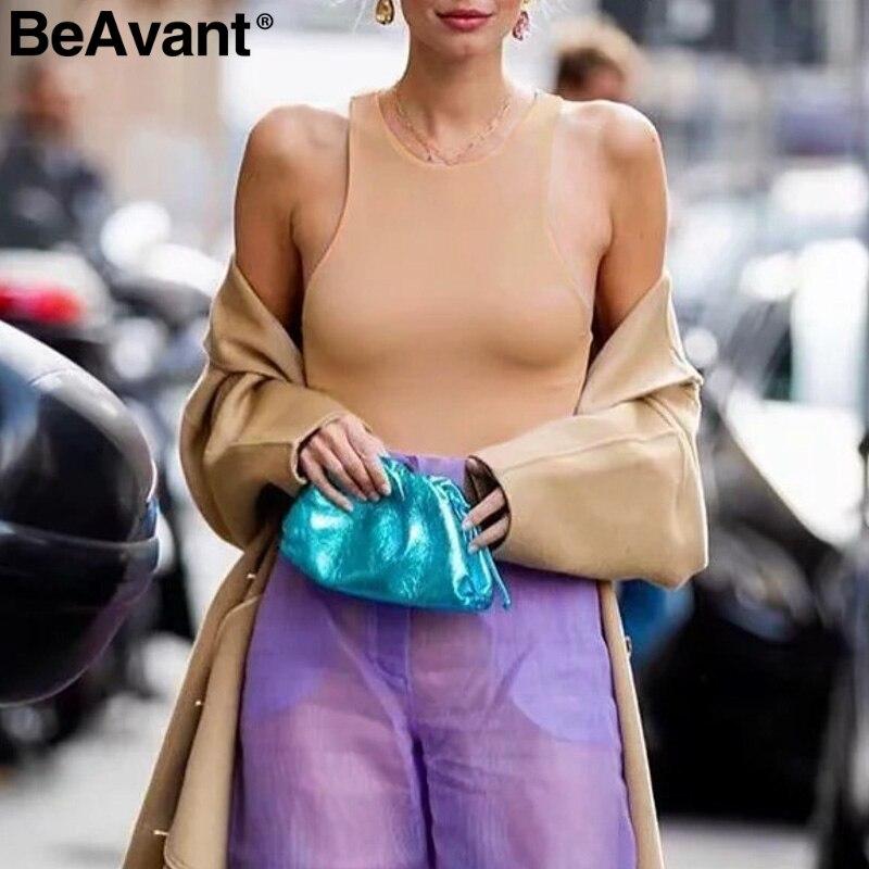 BeAvant Sexy Solid Bodycon Bodysuit Romper Women Elegant Streetwear Ladies Jumpsuit Casual Sleeveless Silm Female Tops Bodysuit