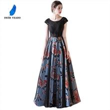 DEERVEADO Cap Sleeve Elegant Evening Dresses Long Flower Pattern Short Sleeve Lace Dress Evening Gowns Formal Party Dresses M246