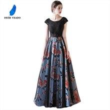 DEERVEADO Cap Sleeve Elegante Abendkleider Lange Blume Muster Kurzarm Spitze Kleid Abendkleider Formale Party Kleider M246